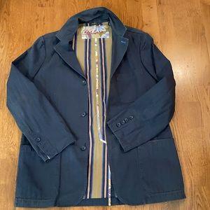 Robert Graham Relaxed Fit Blue Cotton Blazer